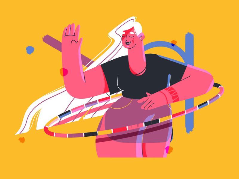 Hula hoop geometry hula hoop girl characterdesign design illustration photoshop flat