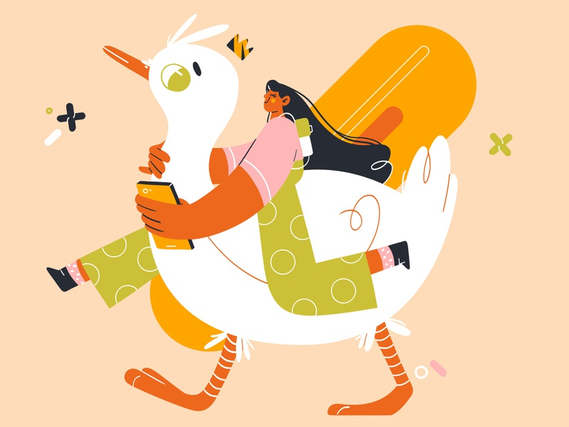 BFF SELFIE flat shapes crown phone drawing photoshop character design design illustration duck