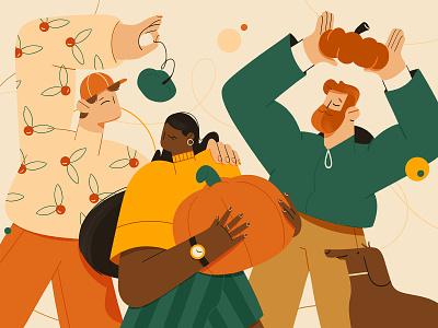 Pumpkin party photoshop party dog drawing flat pumpkin thanksgiving character design illustration