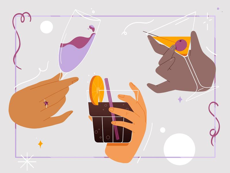 Happy New Year! party wine adobe drinks happynewyear hands photoshop design illustration