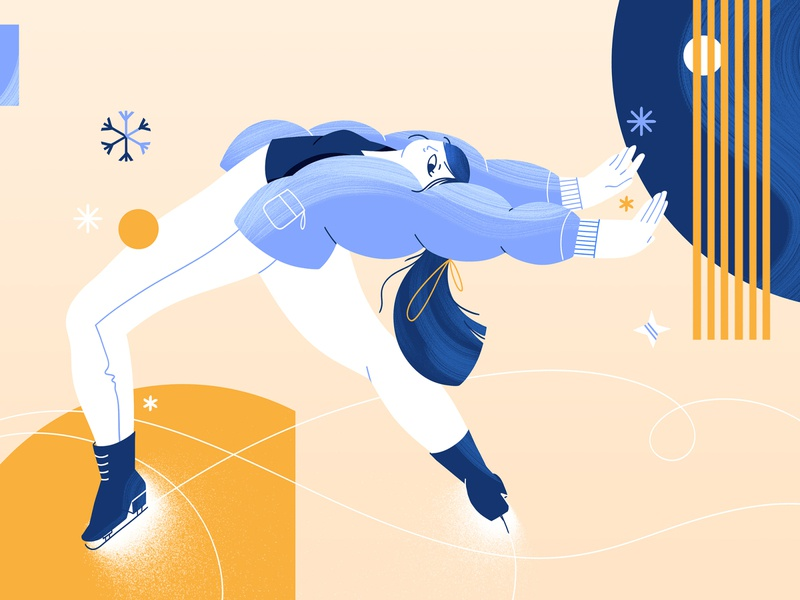 Figure Skater photoshop adobe skating snow winter illustration characterdesign figureskater