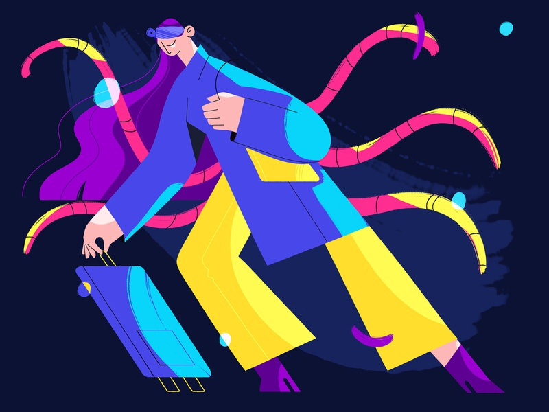 Moving simple illustration characterdesign colorful monster adobe photoshop drawing