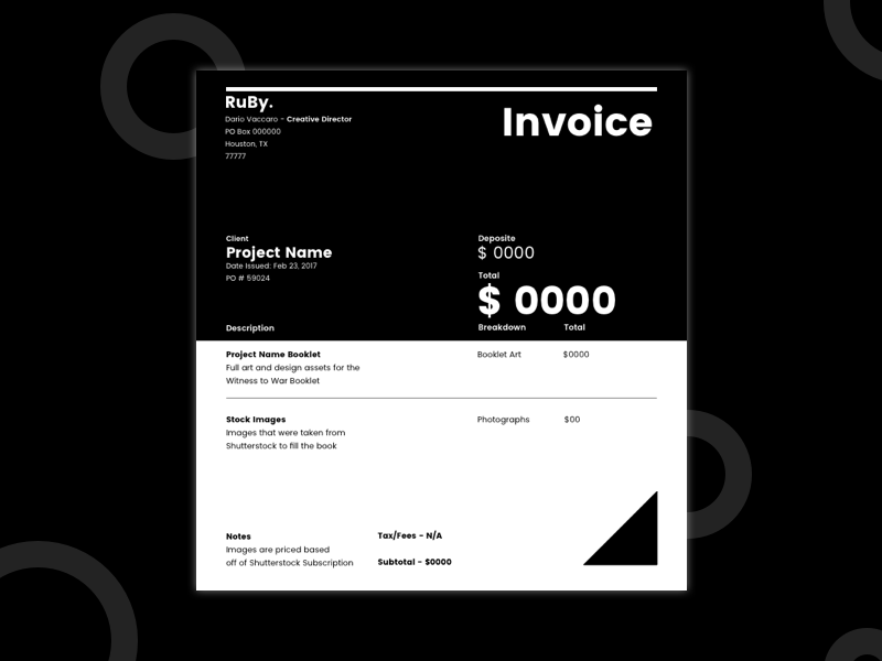 RuBy Invoice Template template invoice minimal apple user interface design print ux ui