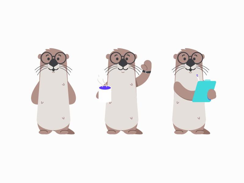 Harry the Otter animal pet character design illustration otter