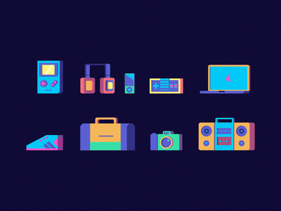 Bestowd Icon Set sports illustration icon set games computer gameboy devices icons