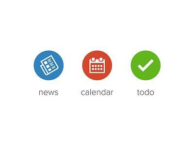 news, calendar & todo icon news calendar todo icon symbol circle simple flat