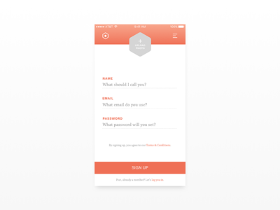 Daily UI 001 // Sign Up up sign app ux dailyui