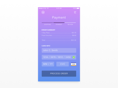 Daily UI 002 // Credit Card Checkout payment card credit app ux dailyui