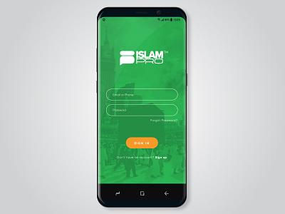 IslamPro Ui/Ux orange green ui ux ux muhammad allah app logo application islamic logo islamic art islamic islampro islam ui app watermark logo