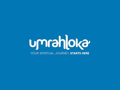 Umrahloka Logo travel agency blue spiritual travel journey halal umrahloka umrah allah illustration design ui application islamic art islam logo