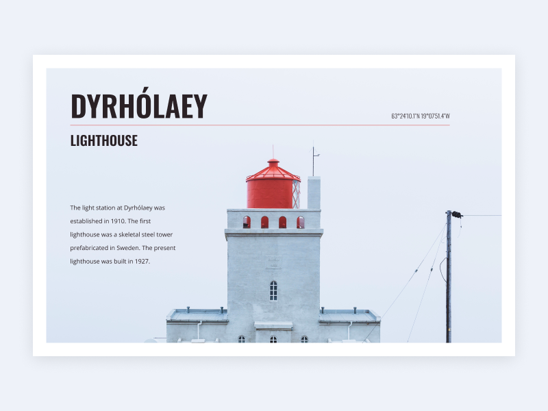 Dyrholaey Lighthouse type lighthouse design minimal