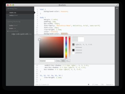 Brackets Sprint 24 Vector High Fidelity high fidelity open source brackets editor code application html css color picker