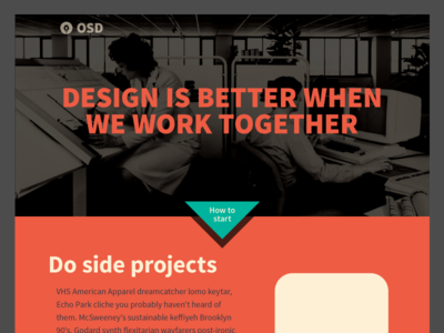 OSD Homepage Design homepage product call to action orange red teal work in progress
