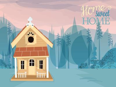 Home Sweet Home birdhouse illustration house
