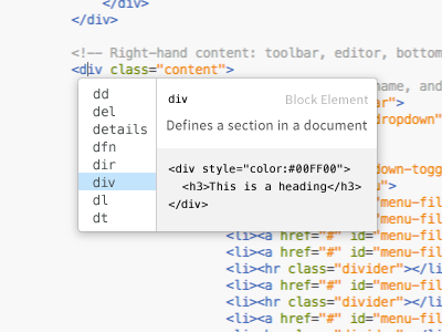 Brackets Code Hinting design draft