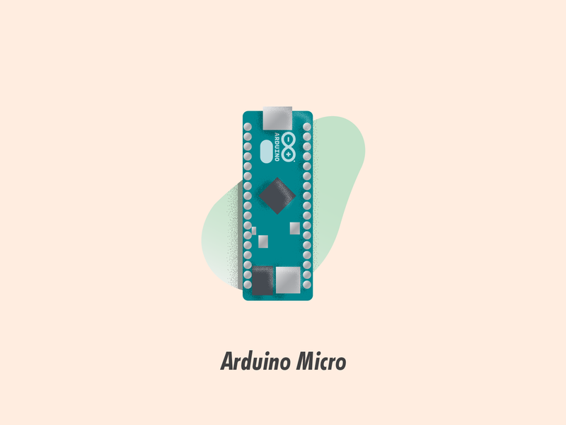 Arduino Micro circuit board illustration illustrator