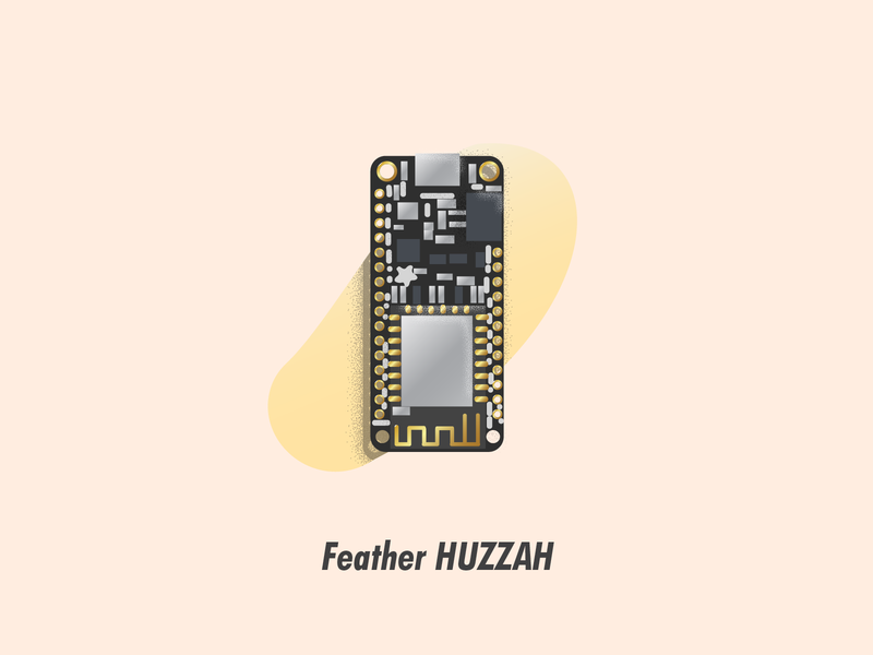 Feather HUZZAH circuit board illustrator illustration