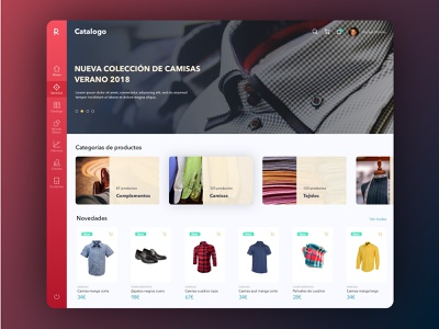 Catalogo e-commerce shopping e-commerce slide shirt product page categories list website backoffice card web ux ui