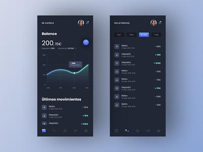 Invertia App money transfer money wallet mobile dark app dark ui filters transaction finance line chart chart dashboard design app list ux ui