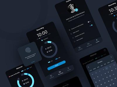 Time Control App statistic timer menu tabs uiux dailyui working recording list fingerprint chart dark app dark ui dark calendar app