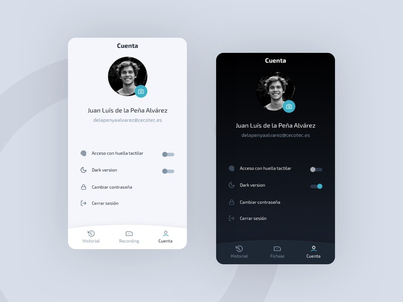 Time Control App - Dark & Light version app design timer working recording fingerprint menu tab switch profile setting app dark light ui light dark ui ui ux