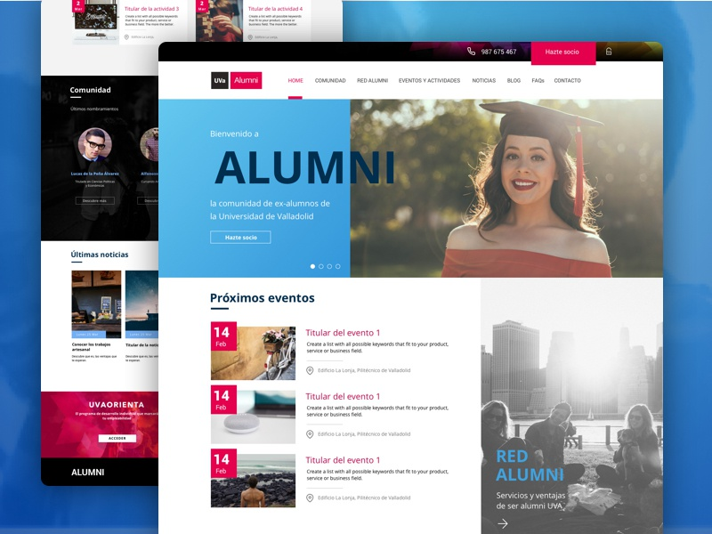 Alumni - Home page subscription university courses card corporate alumni homepage website web ux ui