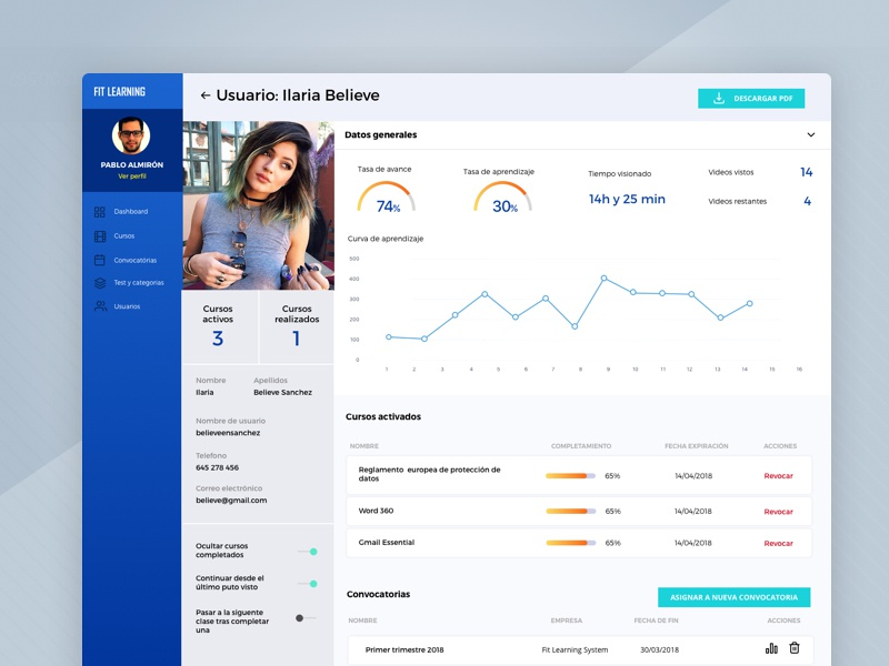 Mobile learning   user dashboard
