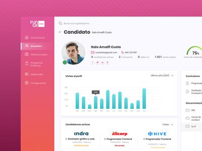 Job App - Users and Candidate Profile job platform graphics data table datas card statistics candidate job offer job dashboard web backoffice ux ui