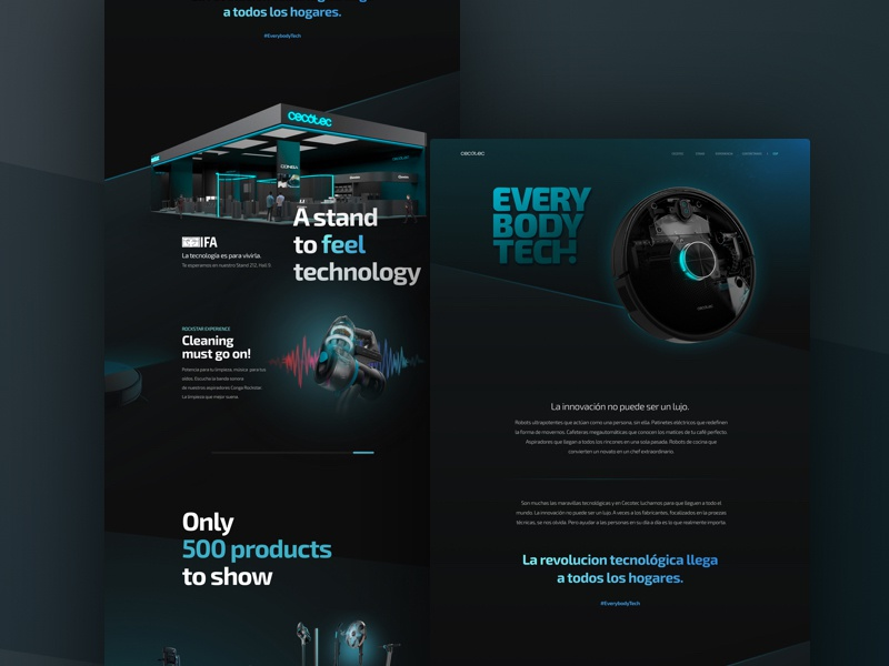 Cecotec- Landing page IFA advertising products stand ui horizontal scroll gradients robots dark ui landing page landing ifa