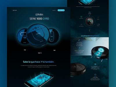 Conga Serie 1000 GYRO conga design vacuum cleaner dark ui landing page web ui