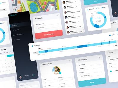 Time Work Recording - UI Elements modal user profile users list design light ui minimalist chart statistics backoffice card web ux ui