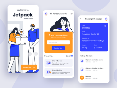 Jetpack - Shipping App delivery apps product tracking app shipping send package design ui illustration