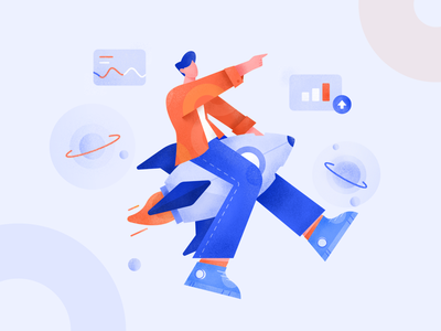 Company Owners for Business Continuity & Growth Illustration company business rocket growth vector web teamwork flat gradient character design illustration