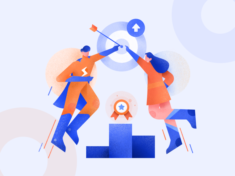 Saving time, Accurate results, Achieve goals Illustration teams goal achievement illustrations bussiness teamwork web ui character design illustration