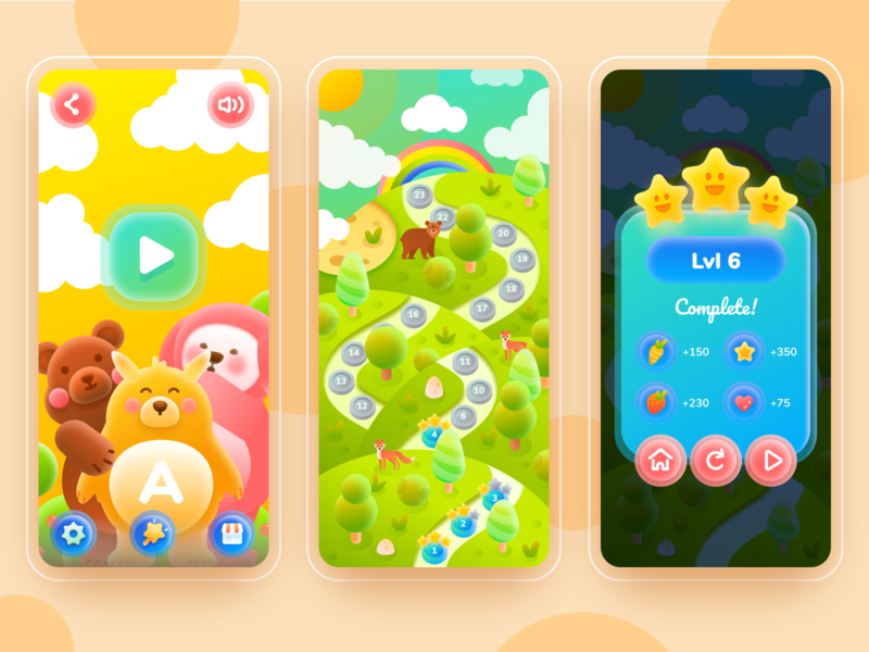 Game User Interface Concept - GUI kids illustration icon cute play button game maps game interface kids game gradient ui web character design illustration