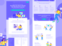 Real Estate Web Redesign Exploration house search manage realestate properties property header hero teamwork flat design landing page web illustration