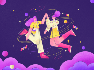 Give Me a High Five Illustration vector friends bestfriend flat gradient character design illustration