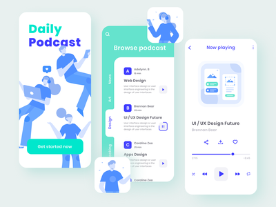 Podcast App music player podcasting streaming app mobile ui podcast apps