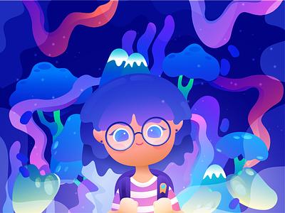 """RandomPopsycle"" Alter Ego spaceworld adventure imagination fairytales dreamy illustration gradient alterego girl character digital design"