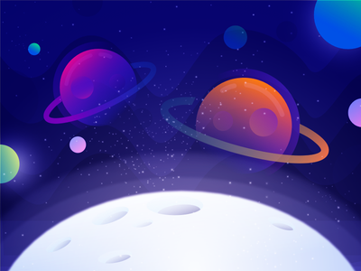 Planet planet waves universe sun stars space poster meteor illustration graphic gradients colors