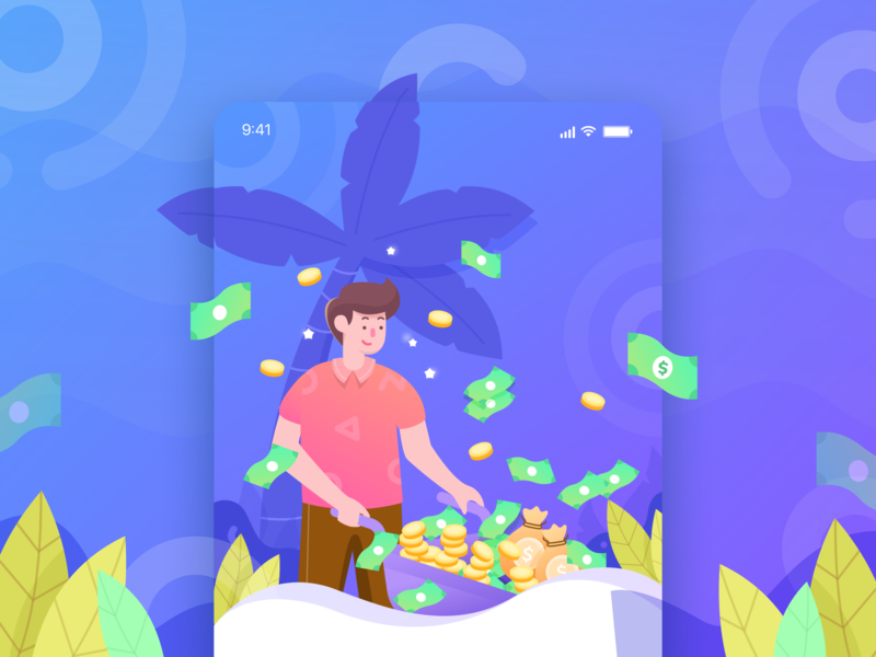 Onboarding Illustration rich cryptocurrency design ux ui onboarding gradient character illustration