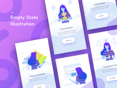 Empty States shape ux design gradient ui illustration character empty state