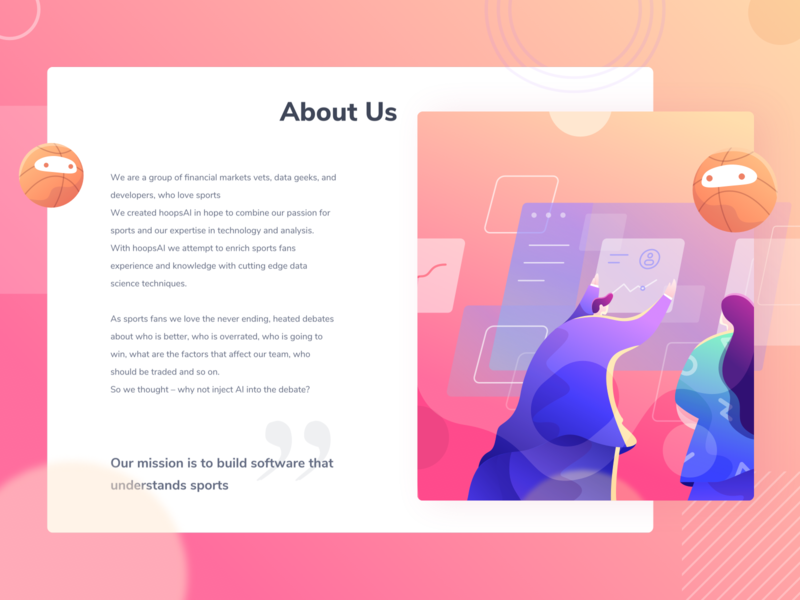 About us illustration teamwork about us homepage chart sport ui web character gradient design illustration