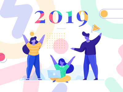 Happy New Year 2019 colorful party newyear newyear2019 happy character design illustration