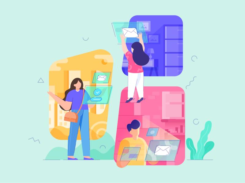 Illustration for Messaging Platform hero ui colorful sharing share chat email messaging homepage flatdesign flat page landing web character design illustration