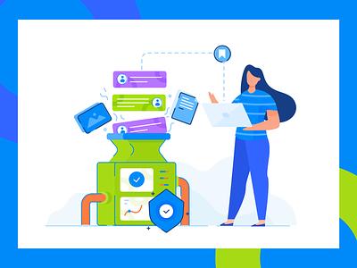 File Sharing Illustration file transfer filesharing teamwork page web character design illustration