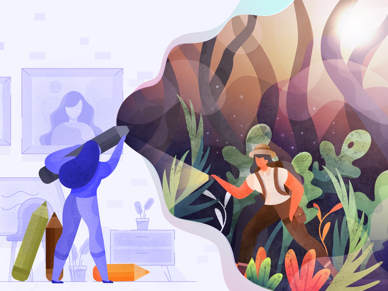 I Want To Be a Female Explorer paint illustrator fantasy dreamer wild adventure explorer vector gradient flat character design illustration