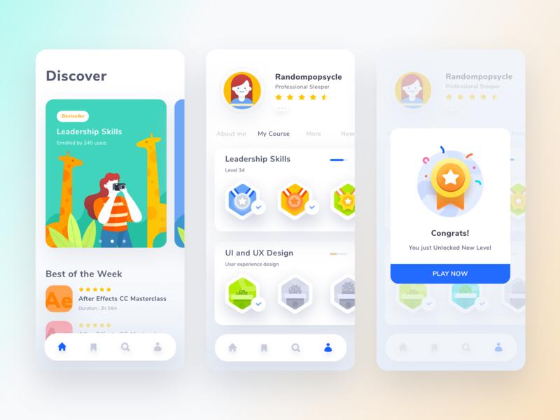 Course Mobile App iphonex game apps discover level achievement congrats course mobile ui app app design illustration gradient ui