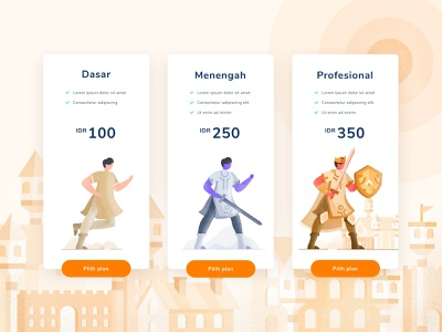 UI Exploration for Pricing Page warriors vector ui soldier plant pricing page plan pricing knight illustration design character