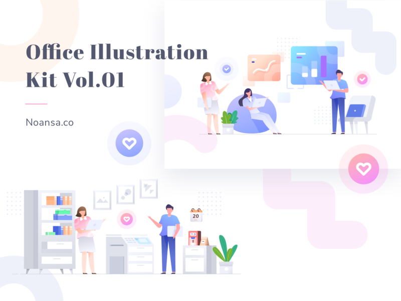Office Illustration Kit Vol.01 - Noansa.co charts illustration kit noansa creative design landingpage hero image ui web creative chart office teamwork gradient character design illustration